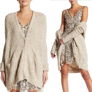 Free People rare Boucle slouch Cardi sweater